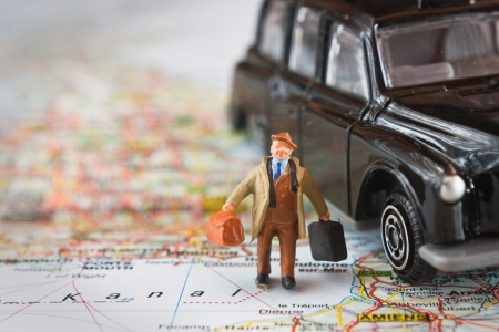 senior man travelling by auto Stock Photo