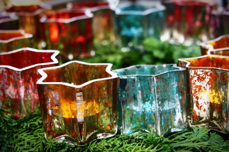 Christmas candle lights Stock Photo
