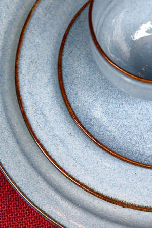 bowl and plate in blue colors