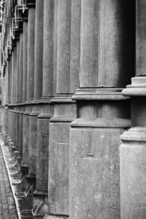 Ancient columns in black and white  photo