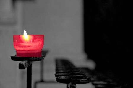 red candle with black and white background  Stock Photo