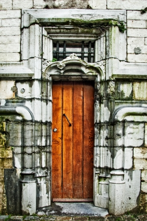 Ancient wooden door of the castle Stock Photo