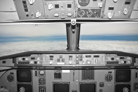 view of a  cockpit in flight  Stock Photo