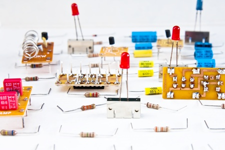 Electronic components on white background