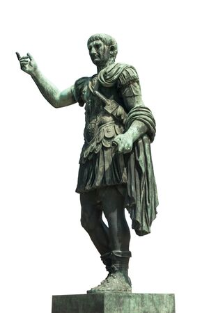 Statue of the Roman emperor Trajan, isolated on white background