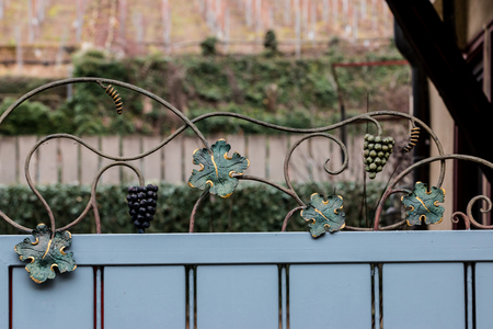 Metal fence with sculpted grapes and vine leaves