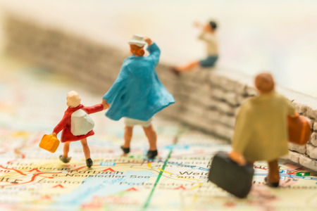 immigrant: People on a map of Europe, suggesting immigrant issues Stock Photo