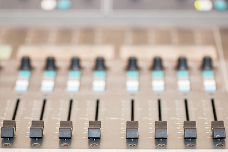 DJ controller desk with buttons Stock Photo