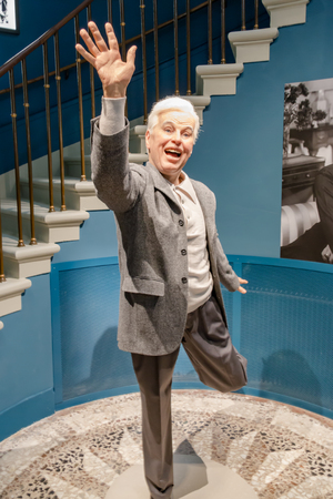 Wax statue of an aged Charlie Chaplin at the entrance to his world museum in Switzerland