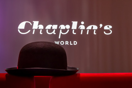 chaplin: Charlie Chaplins famous bowler hat and the logo of his world museum in Switzerland
