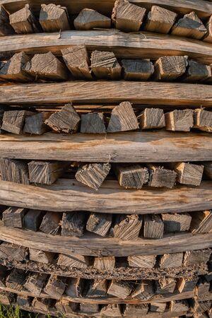 wooden background full frame made of log Stock Photo