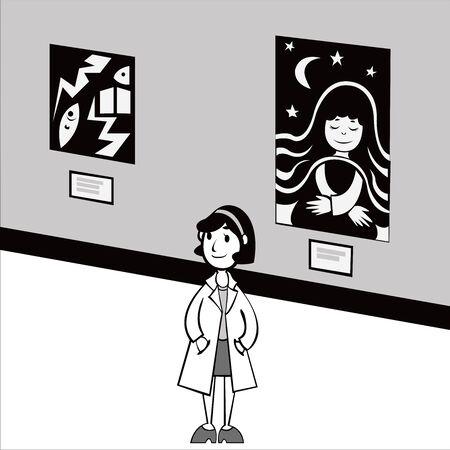 lady in museum Çizim