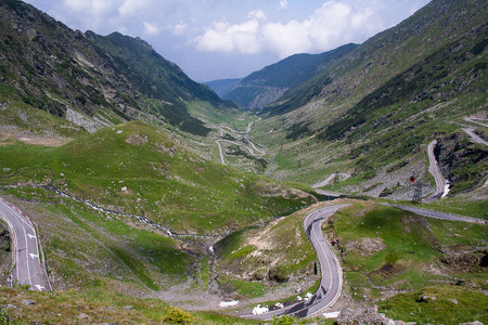 Transfagarasan pass in summer. Crossing Carpathian mountains in Romania, Transfagarasan is one of the most spectacular mountain roads in the world Stock Photo