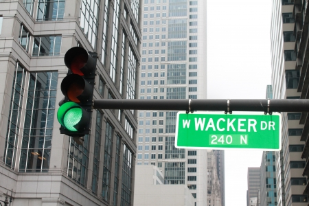 str: Green light on Chicago W Wacker str  Stock Photo