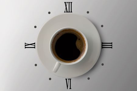 oclock: coffe watches 7 oclock in the morning