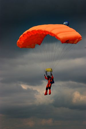 parachuter in the cloudy sky Stock Photo