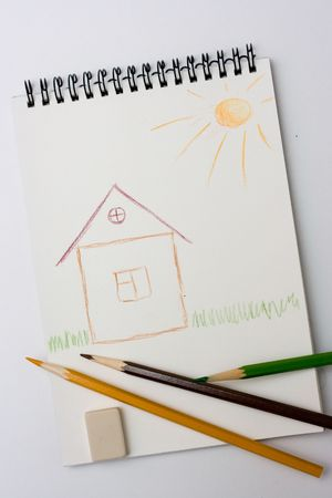 children draw - notebook, house, grass, color pencils, white background