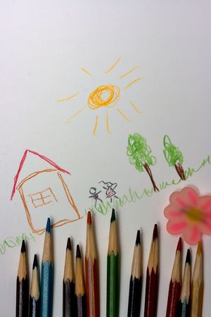 children draw - notebook, house, grass, trees, kids, color pencils