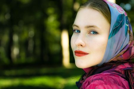 Pretty smiling blond woman with blue eyes Stock Photo - 5654246
