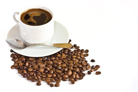 cup of coffee, coffee beans isolated over white Stock Photo
