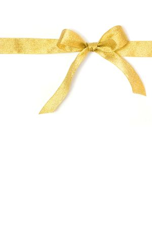 golden gift ribbon and bow isolated over white. some other you may also like Stock Photo