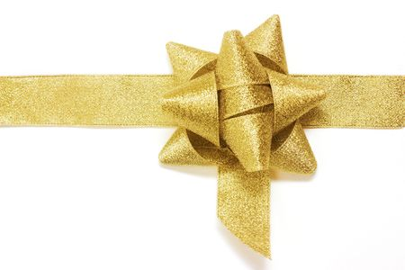 golden ribbon: golden gift ribbon and bow isolated over white. some other you may also like Stock Photo