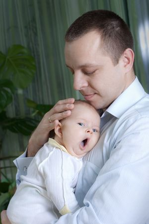 happy family: father and his little baby Stock Photo - 6348790