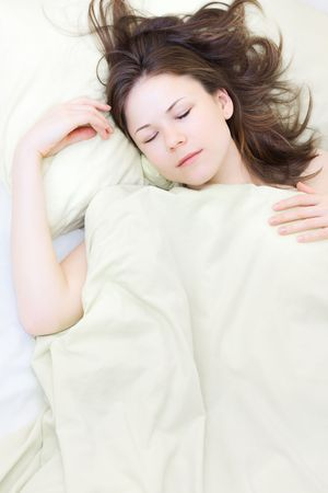 beautiful young woman in her sleep photo