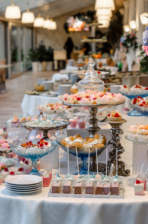 Delicious Wedding Reception Candy Bar Dessert Table Full With ...