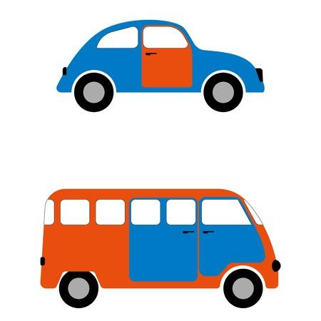 minibus: Figures car and minibus for infographics