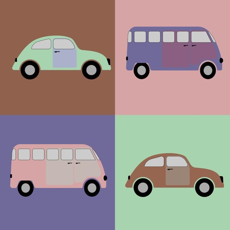 Cars background in old style Vector