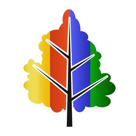 Colorful tree - eco logo Vector