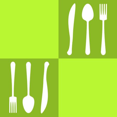 Spoons and forks colored squares olive background Vector
