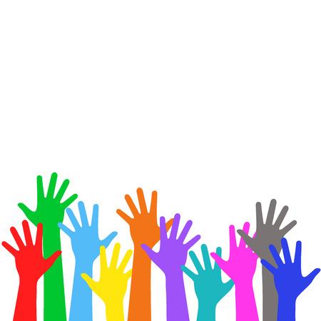 Los niños de colores es las manos levantadas hacia arriba Foto de archivo - 31083550