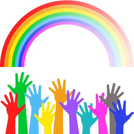 Multicolored hands on background of the colorful rainbow Vector