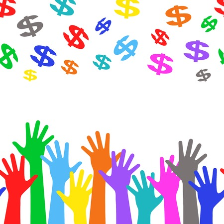 targetting: Business background - colorful hands and dollar sign  Illustration