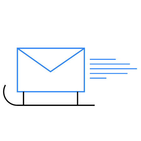 Postal envelope icon on sledge Vector