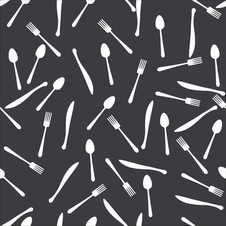 Seamless dark pattern spoon fork knife Vector