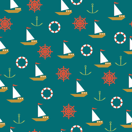 Seamless sea pattern in the vintage style Vector