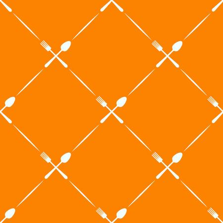 orange pattern: Seamless orange pattern spoon, fork - wrapping paper for menu Illustration