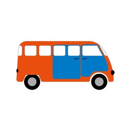 combi: Minibus figure for infographics Illustration