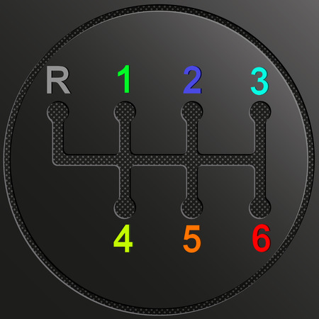 Gearshift of car with multicolor numbers on gray background