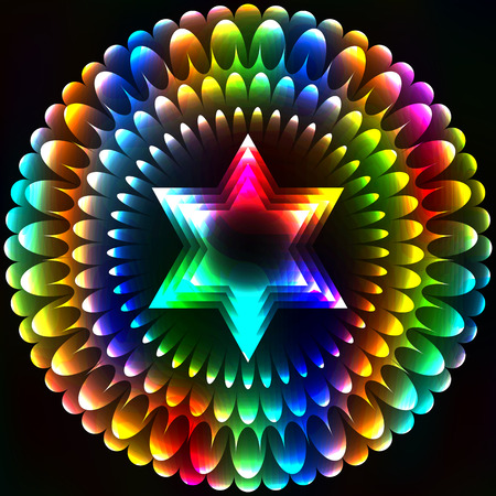 kabbalah: Star of David in the flower, art background