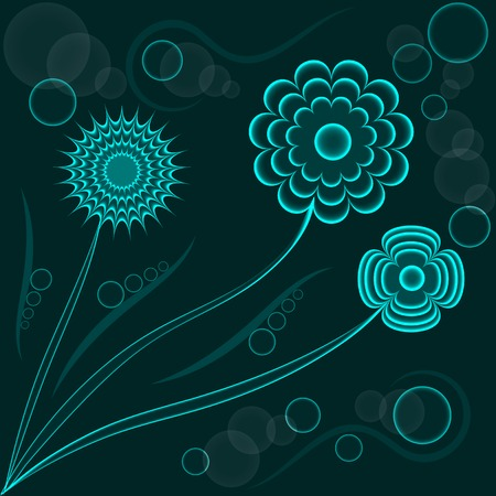 Abstract fantasy floral background, blue flowers Vector