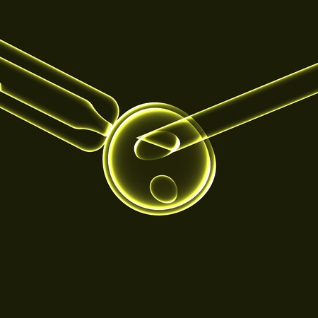in vitro fertilization: In vitriol fertilization: sperm fertilizing egg cell, yellow illustration Illustration