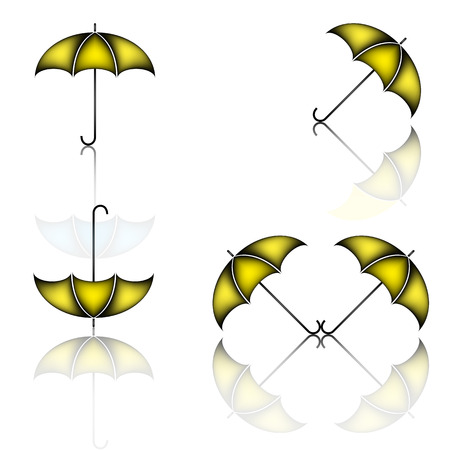 yellow umbrella: Set of yellow umbrella on white background with shadows, illustration