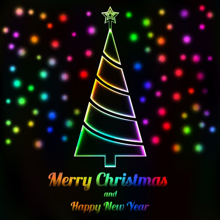 Glowing Christmas tree and lights card, Merry Christmas text Vector