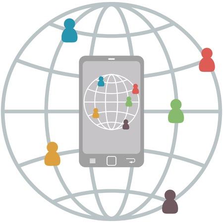 connect people: Appartamento mobile Infografica di persone si connettono, vettore