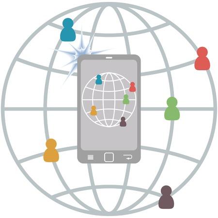 connect people: Appartamento concetto Infografica Mobile di comunicazione, fotografia collegare persone, vettore Vettoriali
