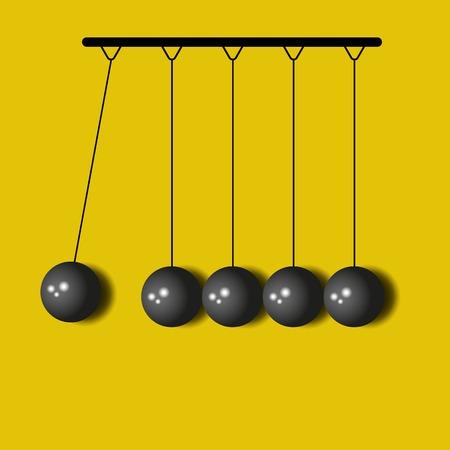 Perpetuum Mobile, balls Newton, yellow business background